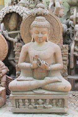 Hand Carved Sandstone Sculpture of The Buddha with Aura <b>SOLD<b>